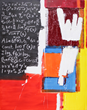 Bernie Taupin | Abacas | Acrylic, Carboard, Wood & Chalk on Canvas | 60 x 48 inches