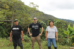 Crimson Cup's Brandon Bir (center) with Peruvian coffee farmers Nilda Barbosa Choque (right) and her father, Pedro Cahuana Cconocc