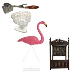 kovels, antiques, collectibles, ice cream scoop, pink flamingo, royal bed, art theft