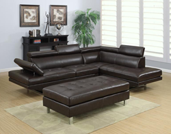 Ibiza Bonded Leather Sectional Sofa and Ottoman Set
