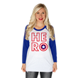 "Featuring ""Cap's"" famous red, white and blue indestructible shield, this baseball raglan will empower you to stand up for what you believe, no matter the odds or the consequences, and be a hero just l"