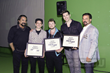"DEC CEO/President Jeffrey Imbrescia presents the three ""Face Off"" stars with awards.  (From left: Tom Savini, Nora Hewitt, Ricky Vitus, Tyler Green, Jeffrey Imbrescia)"