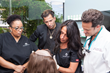 Application of the CNC hair system with (from L to R) salonB's Kimberly Jenkins, celebrity hair stylist Martino Cartier, CRLAB technician and Dr. Alan Bauman