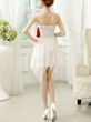 White and red chiffon off shoulder short