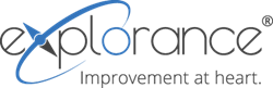 Continuous improvement is projected by the new eXplorance logo.