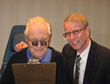 Dr. Kinkade and patient with binocular reading telescopic glasses for macular degeneration