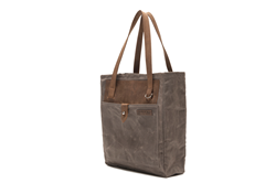 The Field Tote—brown waxed canvas