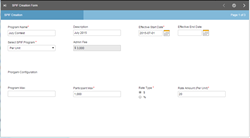 Screen shot of SPIF application that was made using enhanced Optymyze Forms in the Optymyze Sales Application Studio.