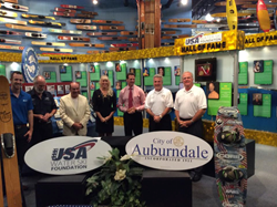 (Photo L-R  Ryan Malone,  Aktion Parks; Kermit Weeks, Fantasy of Flight; Tony Baggiano USA-WSF Vice President;  Tracy Mattes USA-WSF Executive Director; Tim Huston USA-WSF Chairman; Bobby Green, Auburndale City Manager; Tim Pospichal, Mayor of Auburndale