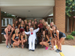 Pauline with fellow cheerleaders from Belmont, North Carolina