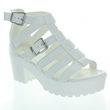 White Strappy Gladiator Platform Ankle Strap Chunky Heels