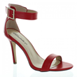 Red Single Sole Buckled Ankle Strap Heels
