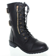 Black Buckle Military Moto Lace Up Calf Combat Boots