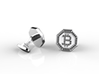 Pair of Bitcoin Sterling Silver mens cufflinks, with 114 black diamonds