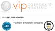 VIP Corporate Housing Named Twelfth Fastest-Growing Travel and Hospitality Company on the Inc. 5000 List