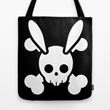 """Bunny Skull Crossbones"" Tote Bags"