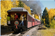 Twisting and turning, the Cumbres & Toltec Scenic Railroad curls for 64 miles through beautiful stretches of aspens and crosses the NM-Colo state line 11 times.