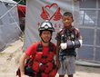 Captain of Circle of Aid Technicians of Colombia, CINAT, providied first aid and medical care to those in need in displaced persons camps in Nepal.