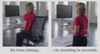Transition from sitting to standing quickly with the Sit2Stand's adjustable column