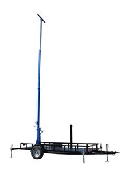 Forty Foot Telescoping light mast featuring a fold over assembly and 360° rotating capabilities
