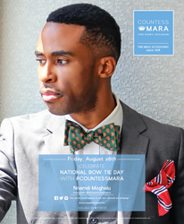 Countess Mara celebrates National Bow Tie Day on fashion blogger Nnamdi Moghalu in The New York Times Magazine