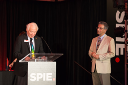 SPIE President Toyohiko Yatagai, at left, presented SPIE 2015 awards including the Gold Medal of the Society to Nader Engheta, at right.