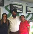 Green Motion Car Rental Toronto, Canada owners Tejpal and Narinder Sahni with Green Motion Franchise Development Director Brenda Azua