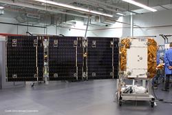SNC OG2 satellite with deployed solar array.
