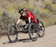 Jamey Stogsdill on her hand cycle.