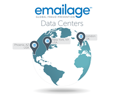The location of the Emailage Data Centers.