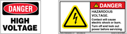 "At left, an OSHA-style ""Danger – High Voltage"" label. At right, an up-to-date ANSI Z535.4 counterpart. (Design at right ©Clarion Safety Systems. All rights reserved.)"