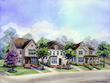 This rendering is a representative streetscape for Oakdale At Mordecai. Robuck Homes has created a new collection of plans to align with architectural character of the local community.