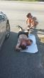 Cutco sales representative and ultramarathon runner Raymond Ciafardini Jr. stretches out a cramp during the Cremator Ultra 50 Mile Endurance Race in Port Royal, South Carolina in July.