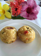 Baked breadfruit balls are offered at Calabash Cove Resort & Spa in St. Lucia. The hotel always integrates local recipes into the daily menu.