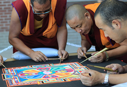 Buddhist monks will create a sand mandala on site at The Children's Museum of Indianapolis as part of National Geographic Sacred Journeys and it will stay as one of the artifacts in the exhibit