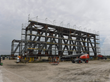 Painting scaffold surrounds one of the three cradle sections fabricated by TTI-FSS at its Port of Tampa facility for the world's largest coal ship loader.