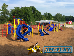 View of new school playground equipment from APCPLAY