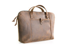 Cozmo 2.0 leather briefcase—Full-size, grizzly leather