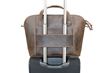 Cozmo 2.0 leather briefcase—rear slip for sliding over rolling suitcase