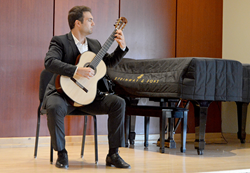 Competitor Roberto Borbone (San Francisco, CA) in the Classical semi-final rounds at the Wilson Center Guitar Competition & Festival, Thursday, Aug. 13, 2015.