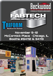 Meet Beckwood & Triform at Fabtech 2015 and find solutions to your toughest manufacturing challenges.