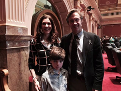 Colorado State Senator Michael Johnston with Shannon O'Connor, Hydrocephalus Association Colorado Community Network leader, and her son Reese
