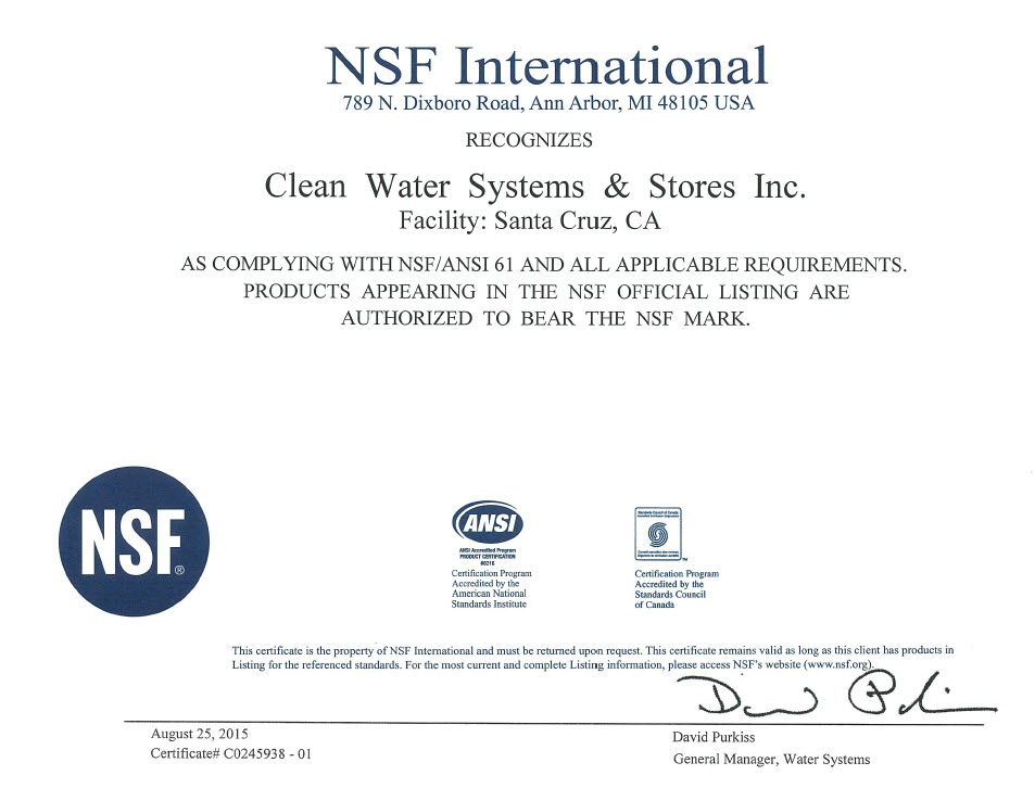 NSF International Has Recognized Clean Water Systems