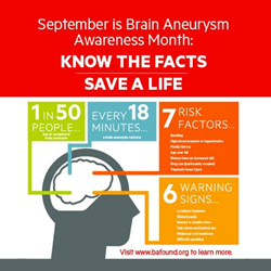 September is Brain Aneurysm Awareness Month