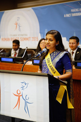 "Youth delegate Amanda Abeyshinge of Sri Lanka: ""My belief is that it is never too soon or late to speak up and stand up for one's own rights and the rights of others."""