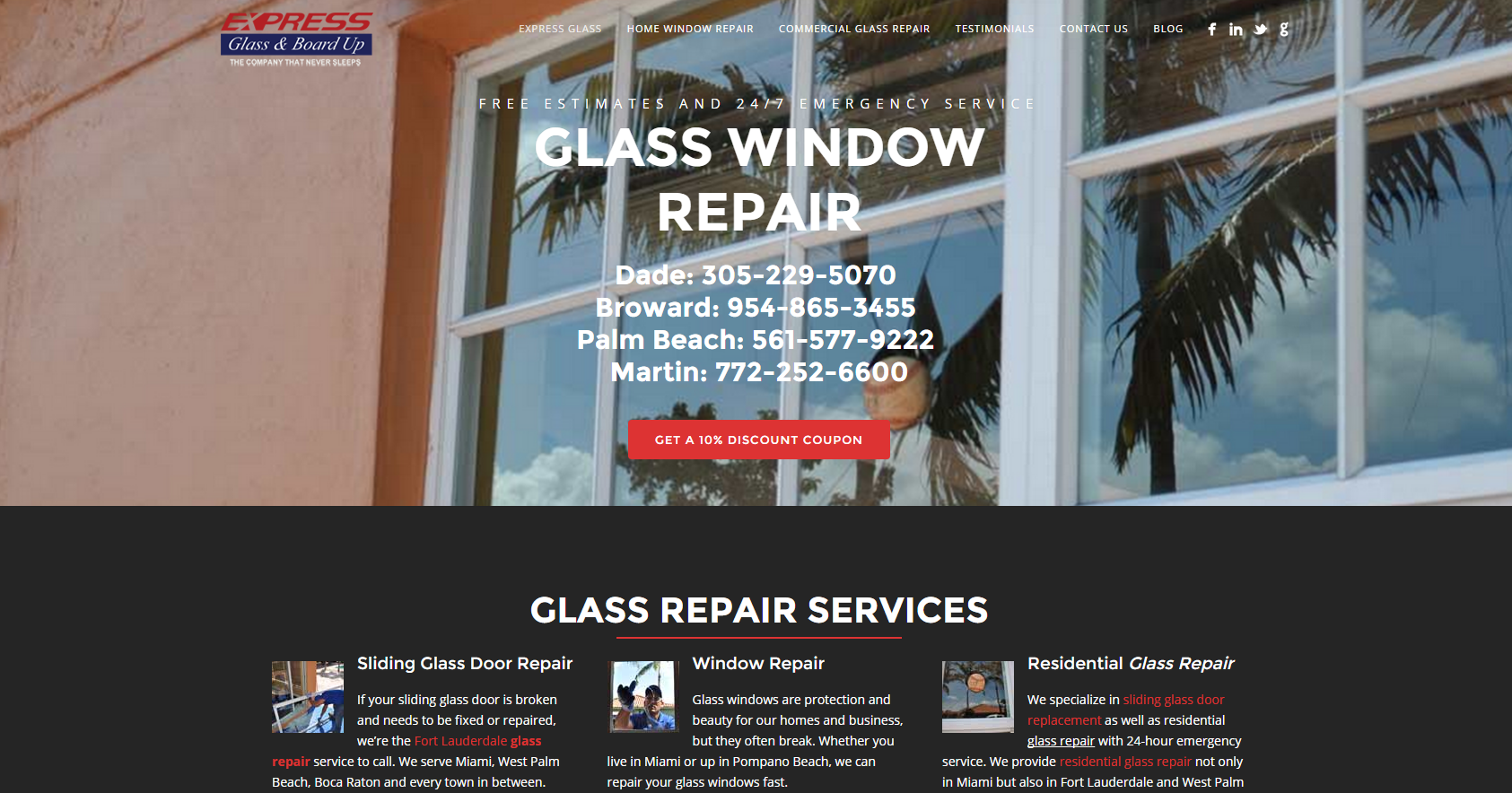 Express Glass Top Residential Glass Repair Service For West Palm