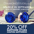 DiamondStuds.com Customers Will Receive a Complimentary Upgrade from 14k to 18k Gold During Labor Day Weekend and 20% Off All Sapphire Studs in Honor of September