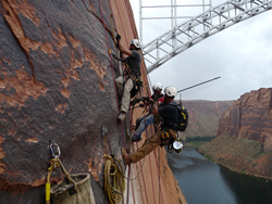 High scalers on canyon wall near Glen Canyon Dam in Arizona