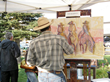 Artists create in the open air on the Town Square Sept. 19, during the Jackson Hole Fall Arts Festival's crowd-pleasing QuickDraw event.