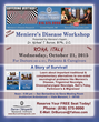 The 15th Annual Meniere's Disease Workshop Sponsored by the Meniere's Research Institute Will Be Held in Rome, Italy, from  Noon to 5 pm on Wednesday, October 21, 2015